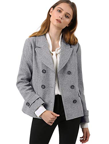 Allegra K Women's Notched Lapel Double Breasted Pea Coat S Grey