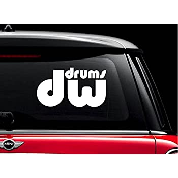 Dw drums white 4 vinyl decal sticker for car automobile window wall laptop notebook etc any smooth surface such as windows bumpers