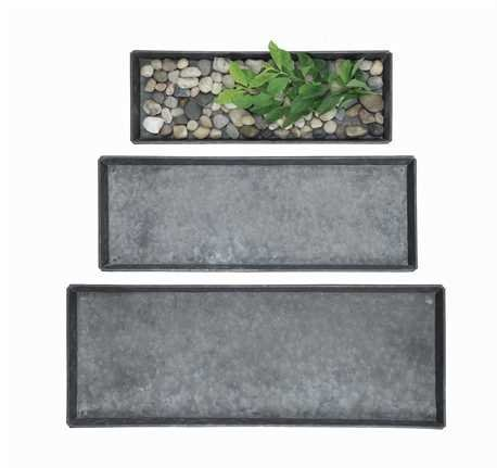 Decorative Zinc Trays- Set Of 3