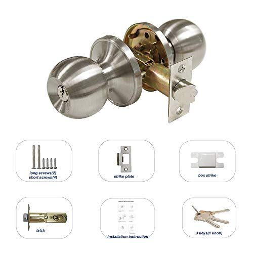 All Keyed Same Entry Door Knobs with Single Cylinder Deadbolt for Exterior Front Doors, Satin Nickel Finish, Keyed Alike for 6 Sets by Knobonly (Image #3)