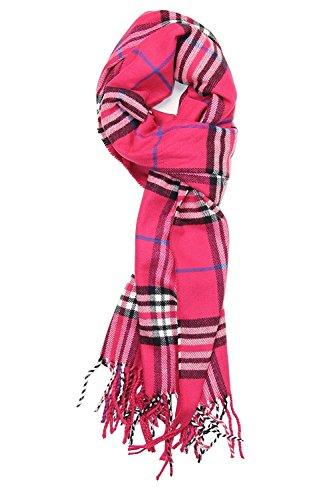 JSL Super Soft Luxurious Classic Plaid Cashmere Feel Winter Scarf Dark Pink