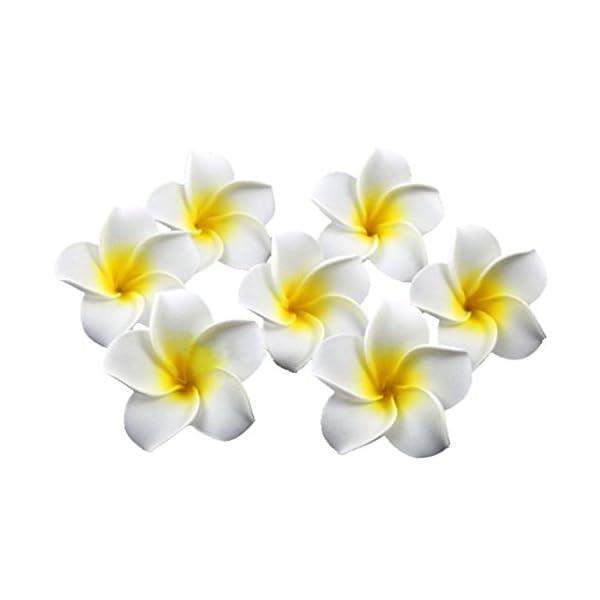 Healthcom-Premium-Hawaiian-Foam-Flower-White-Artificial-Plumeria-Rubra-For-BeachWedding-Party-DecorationPackage-of-100