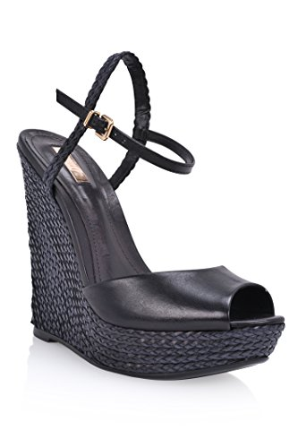 strap open Leather Platform ankle Womens Schutz Toe Antonella Sandals Wedge High Black Ctwv7f0q