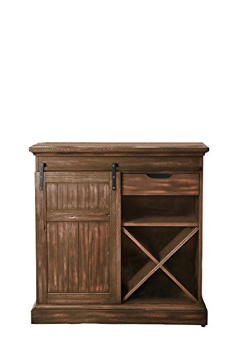 HOMES: Inside + Out Desair Wine Cabinet Oak - Finish: Oak Material: solid wood, wood veneer Rustic style - sideboards-buffets, kitchen-dining-room-furniture, kitchen-dining-room - 41FisDvPuPL -
