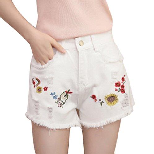 Cut Off Caldi Stampato Pantaloni Signore Dexinx della il Denim Mini Casuali di Bianca1 Spiaggia Estate Elegante Bicchierini Fiore tAxWwES1
