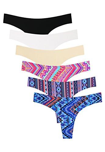 Panties Womens Thong - Wealurre Women's Microfiber Low Rise No Show Thong Pantie(B/W/A/Color,M)