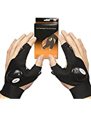 LED Zaklampen Vishandschoenen, Cool Gadgets Geschenken voor Mannen Man Papa, Handvrije Vingerloze Lichten Handschoenen voor Reparatie Vissen Camping Wandelen Running op Donkere Place, 1 Paar