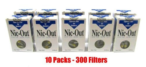 Nic-Out Cigarette Filters 10 Packs (300 Filters) Smoking Free Tar & Nicotine Disposable Nic-Out Holders for Smokers DON'T QUIT SMOKING (Nicotine Filter)
