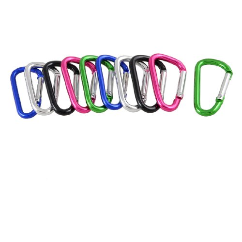 uxcell 10 Pcs Colorful D Shaped Aluminum Alloy Fishing Traveling Carabiner Keychain ()