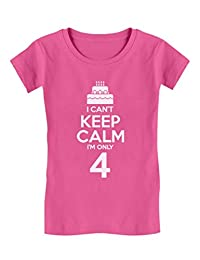 Birthday Cake - I Can't Keep Calm I'm 4 Kids Funny/Kids Girls' Fitted T-Shirt
