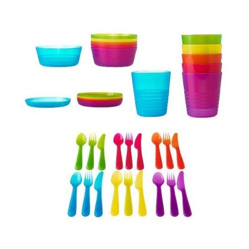 Ikea 36 Pcs Kalas Kids Plastic BPA Free Flatware, Bowl, Plate, Tumbler Set, Colorful, Baby & Kids Zone