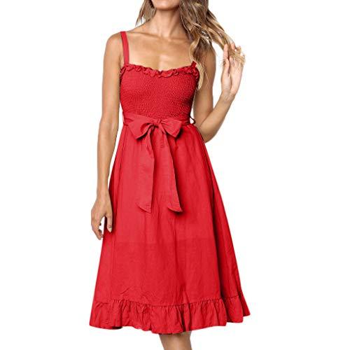 (Aniywn Women's Spaghetti Straps Elegant Swing Dress Solid Bohemian Sleeveless A-Line Midi Dress with Belt Red)