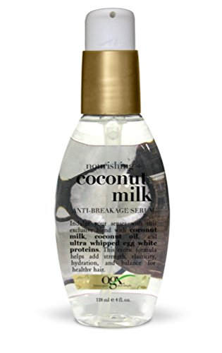 OGX Anti-Breakage Serum Nourishing Coconut Milk, (1) 4 Ounce Pump Bottle, Paraben Free, Sulfate Free, Sustainable Ingredients, Strengthening, Protective, Hydrating