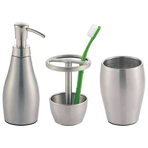 Bath Soap Accessory Dispenser - mDesign Metal Bathroom Vanity Countertop Accessory Set - Includes Refillable Soap Dispenser, Divided Toothbrush Stand, Tumbler Rinsing Cup - 3 Pieces - Brushed Stainless Steel