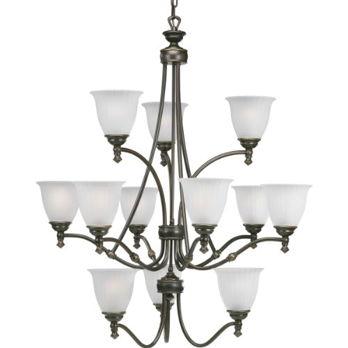 3 Tier 12 Light Pendant - Progress Lighting P4510-77 12-Light Three-Tier Renovations Chandelier, Forged Bronze
