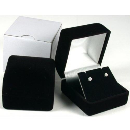 Earring Gift Box Black Velvet Flocked Jewelry (Black Velvet Flocked Jewelry Display)