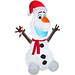Gemmy Airblown Inflatable Olaf Wearing Santa Hat and...