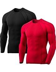 Tesla Men's Long Sleeve T-Shirt Baselayer Cool Dry Compression Top Round Neck/Mock Neck
