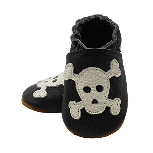 Sayoyo Suaves Zapatos De Cuero Del Bebé Zapatillas Cráneo Negro