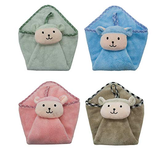 Ceqcin Cute Hand Towels for Kids Lovely Children Terry Absorbent 4PC Hanging Animal Washcloth by Ceqcin