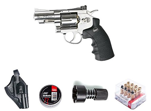 - ASG ASG18101Kit-B Dan Wesson Revolver Pellet Air Gun with Holster/Cartridges/Extra BBS/& Speed Loader, Silver, 2.5