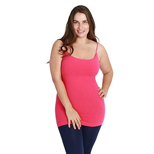 Nikibiki Women's Plus Size Long Camisole Plain Jersey 92% Nylon and 8% Spandex (Fuchsia)
