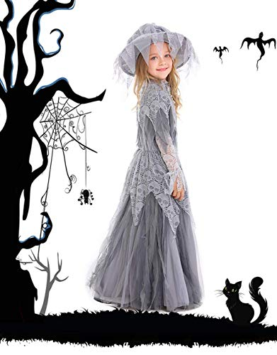 Festival Mask Halloween Ghost Princess Bridal Flower Kids Festival Children's Witch Wear,XL Costume Mask]()
