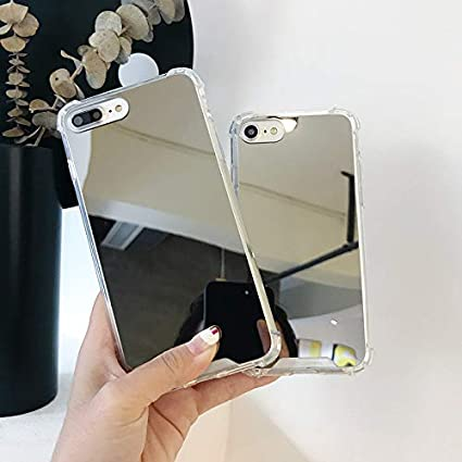 for girls woman Makeup Four Corners Thicken Shockproof Protective Case, Mirror 7//8 KEXAAR Mirror case for iPhone 7 and iPhone 8, Hard back+Soft Rubber Bumper Anti-Scratch Touch up and Back Camera Selfies