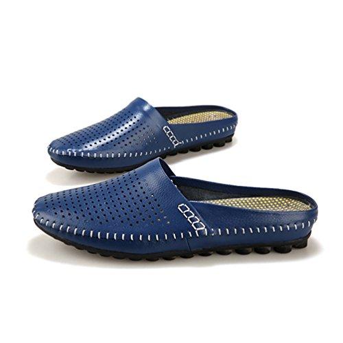 SUNROLAN Herren Sommer Breathable Leder Slip On Open Zurück Slipper Loafer Mules Style Wohnungen Schuhe Blau