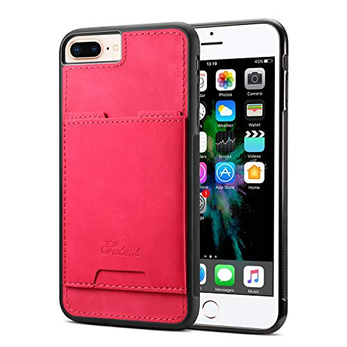 Case for iPhone 6P 7+ 8 Plus Apple Lightweight Cover,TACOO Soft Pu Leather Thin Simple Protective Card Slots Durable Kickstand Sturdy Women Boy Shell