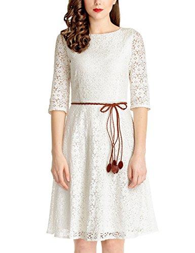 3/4 sleeve a line wedding dress - 3