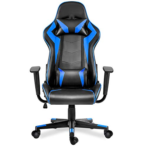 Hooseng Deep Blue, Gaming High-Back Ergonomic Height Adjustment Executive Desk Chair Support Headrest and Lumbar