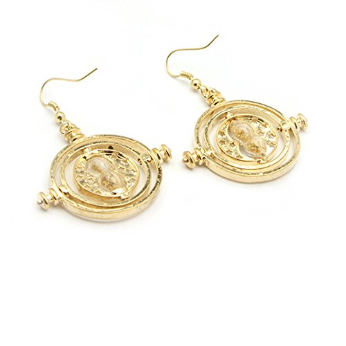 Athena Harry Potter Gold Time Turner Logo Dangle Earrings Gift Box Included