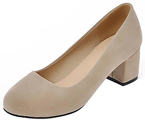 Mofri Women's Classic Faux Suede Low Cut OL Work Shoes Round Toe Block Medium Heel Slip On Pumps (Beige, 7 B(M) (2 Plain Toe Slip)