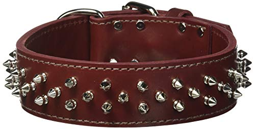 OmniPet Protector Full Spiked Latigo Leather Pet Collar, 2 x 27, Burgundy