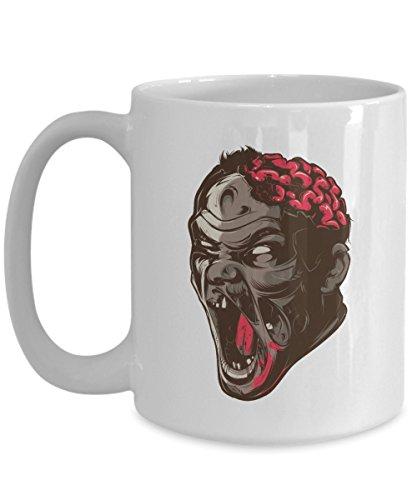 Scary Zombie Coffee Mug Dead Halloween Horror Gift Idea For Women Men White 15oz Ceramic]()
