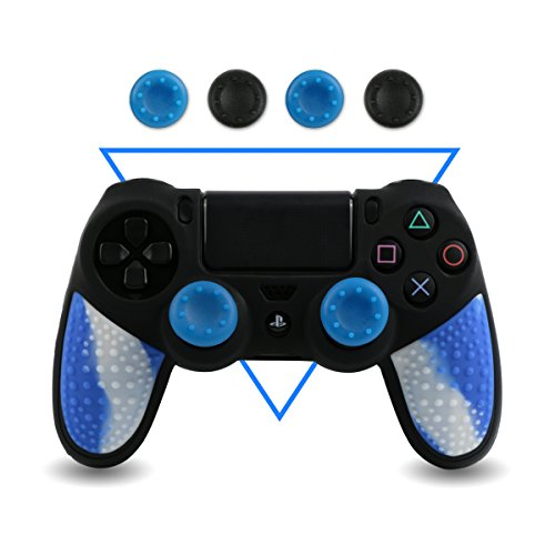 Silicone Rubber Skin Gel Case Cover for Playstation 4 PS4 Controller (Blue) - 5
