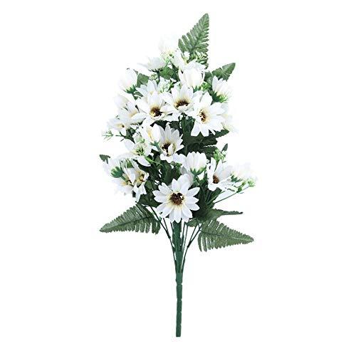 BIG-DEAL_27 Heads/Bouquet Small Aster Artificial Flower Silk Flowers Gerbera Flores Daisy Flower DIY Wedding Garden Decoration A9830 - (Color:White)