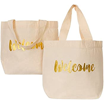 f76dbeb19ea Ling s moment Wedding Welcome Gift Bag Medium Canvas Tote Bag for Hotel  Guests Wedding Favors Christmas