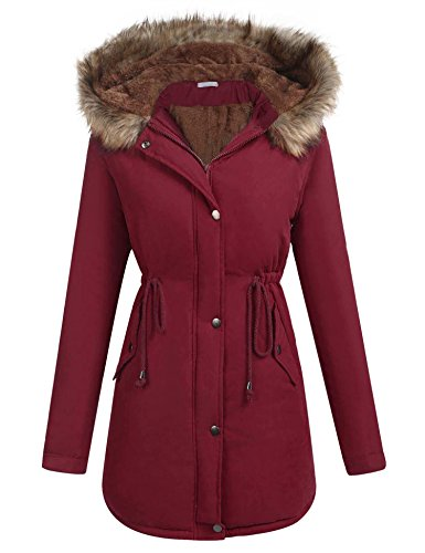 ELESOL Women's Windbreaker Outwear Warm Wool Coat Down Jackets Plus Size Wine Red/XXL - Wool Windbreaker