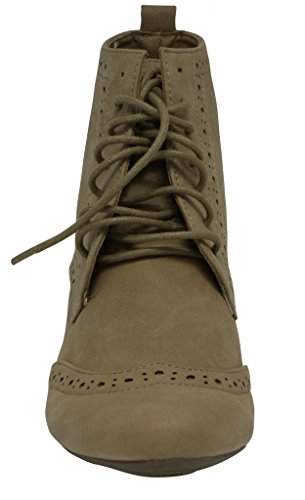 Anna Rosy-01 women fashion desert oxford lace up high top loafer Taupe XWghTnddT