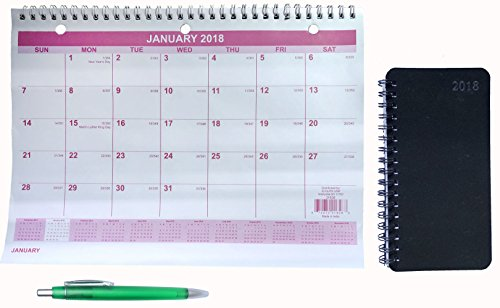 2018 Wall Calendar, Weekly & Monthly Planner Daily Agenda January 2018 - December 2018 8-1/2
