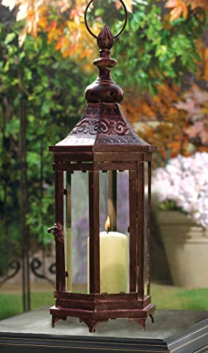 PierSurplus 20.9 in. Mahogany Bronze Metal Moroccan-Style Hanging Candle Lantern, Clear Glass Large Candle Lantern ()
