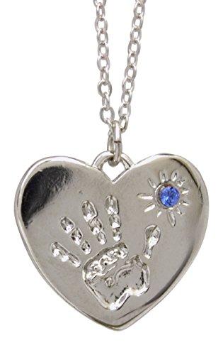 Little Handprints Birthstone Necklace (September - Color of Sapphire)