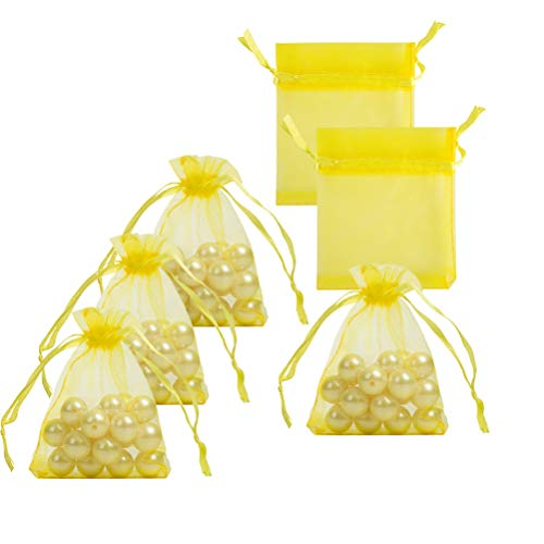 (Small Organza Bags with Drawstrings 2.7x3.5 inch, Yellow, Pack of 100)