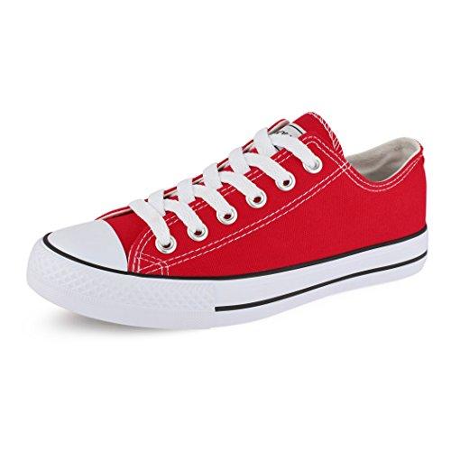 best-boots Women Sneaker Lace-Up Shoe Slipper casual low shoe Red