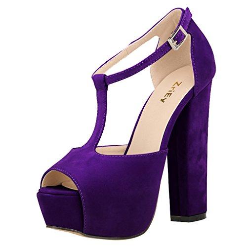 (ZriEy Women's Peep Toe 14CM / 5.5 inches High Heel T-Strap Platform Chunky Heels Party Wedding Sandals Velvet Purple size10)