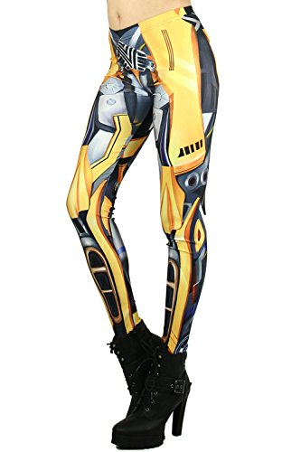World of Leggings Bumblebee Transformer Leggings XLarge -