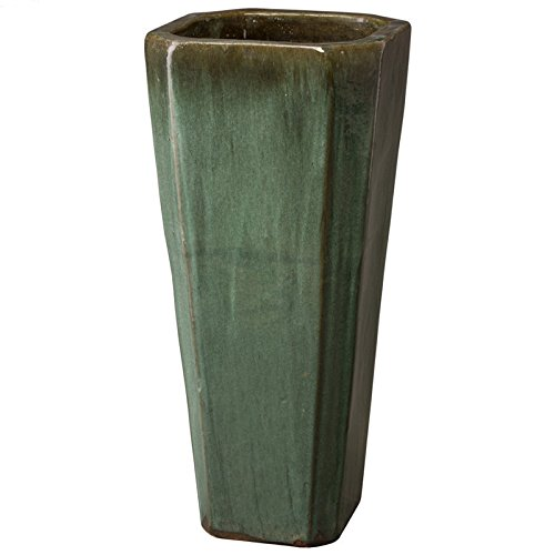 Tall Square Ceramic Planter - Green Kelp by Emissary