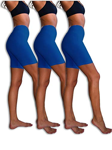 - Sexy Basics Womens 3 Pack Sheer & Sexy Cotton Spandex Boyshort Yoga Bike Shorts (Large- 7, ROYAL)